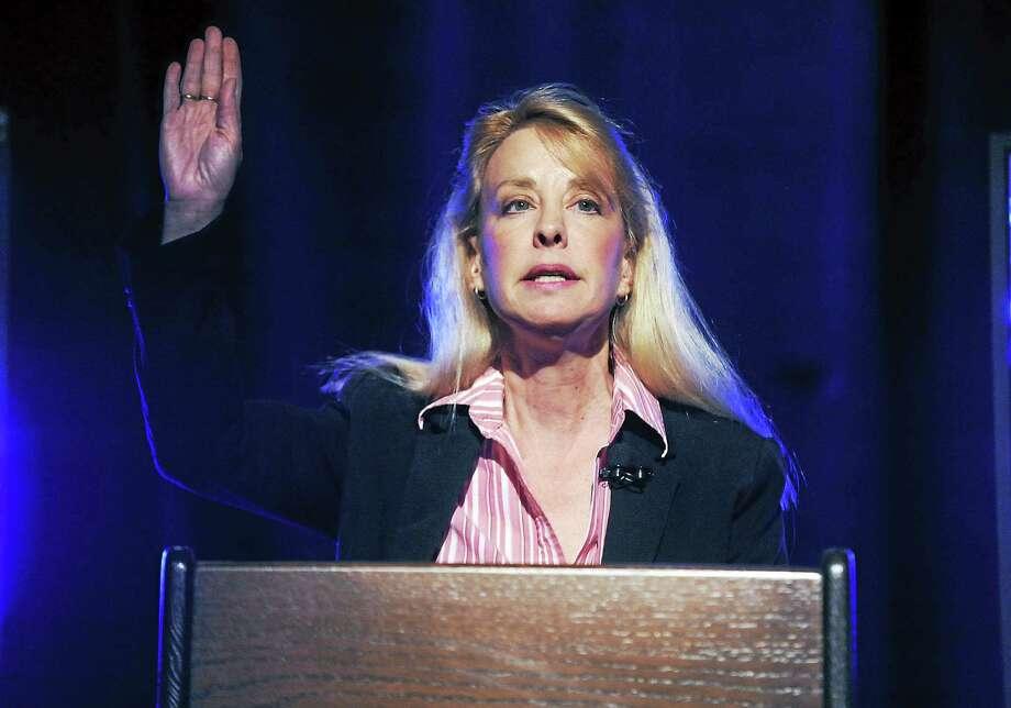 Lisa Whitnum-Baker gestures April 9, 2012, during a U.S. Senate candidate debate in Storrs. Photo: AP Photo/The Hartford Courant, John Woike / AP2012
