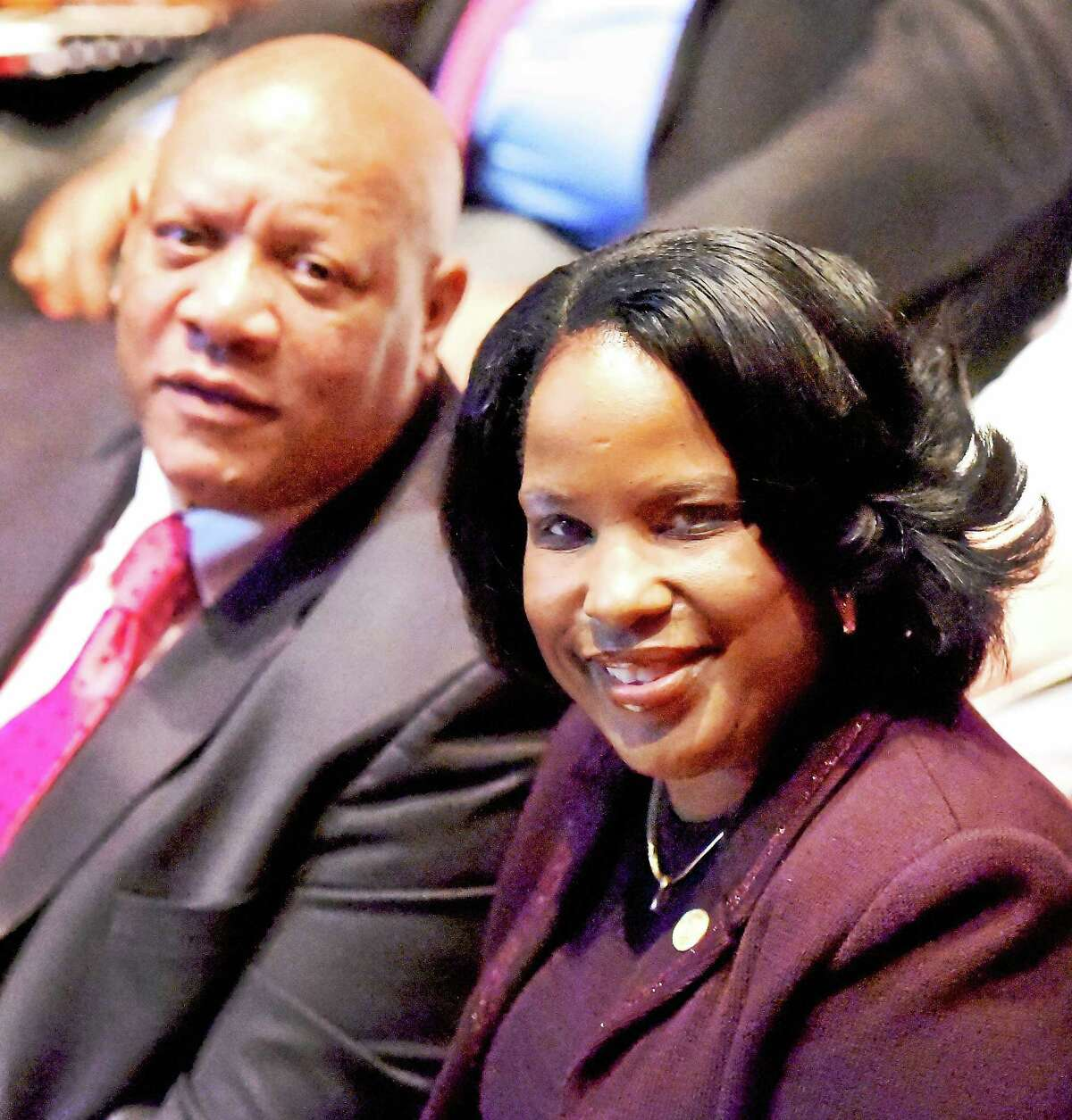 Scot X. Esdaile, president of the Connecticut State Conference of NAACP Branches and a National NAACP board member, left, with NAACP Chairwoman Roslyn Brock during Monday's conference.