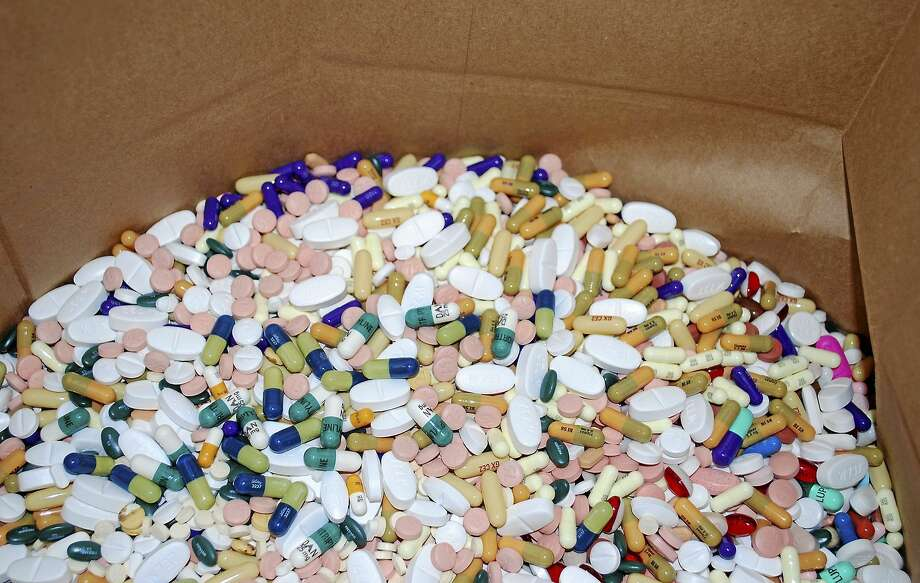 SUSAN FIELD — DFM FILE PHOTO  A collection of prescription pills meant to be incinerated for safe disposal.