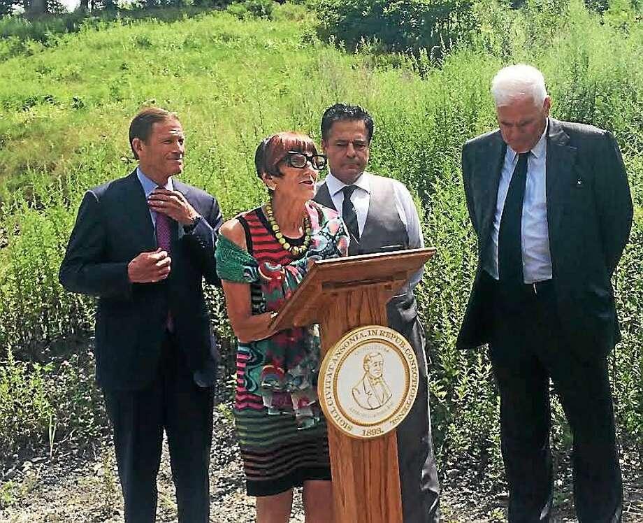 From left, U.S. Sen. Richard Blumenthal, U.S. Rep. Rosa DeLauro, Ansonia Mayor David Cassetti and Shelton developer Robert Scinto. Photo: Luther Turmelle — New Haven Register