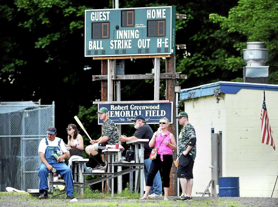 "Fans wait for the West Haven Twilight League's Mark Consorte Home Run Derby to begin on ""Fresh Air Fund Day"" at Quigley Stadium in West Haven on Saturday. Photo: Arnold Gold — Register"
