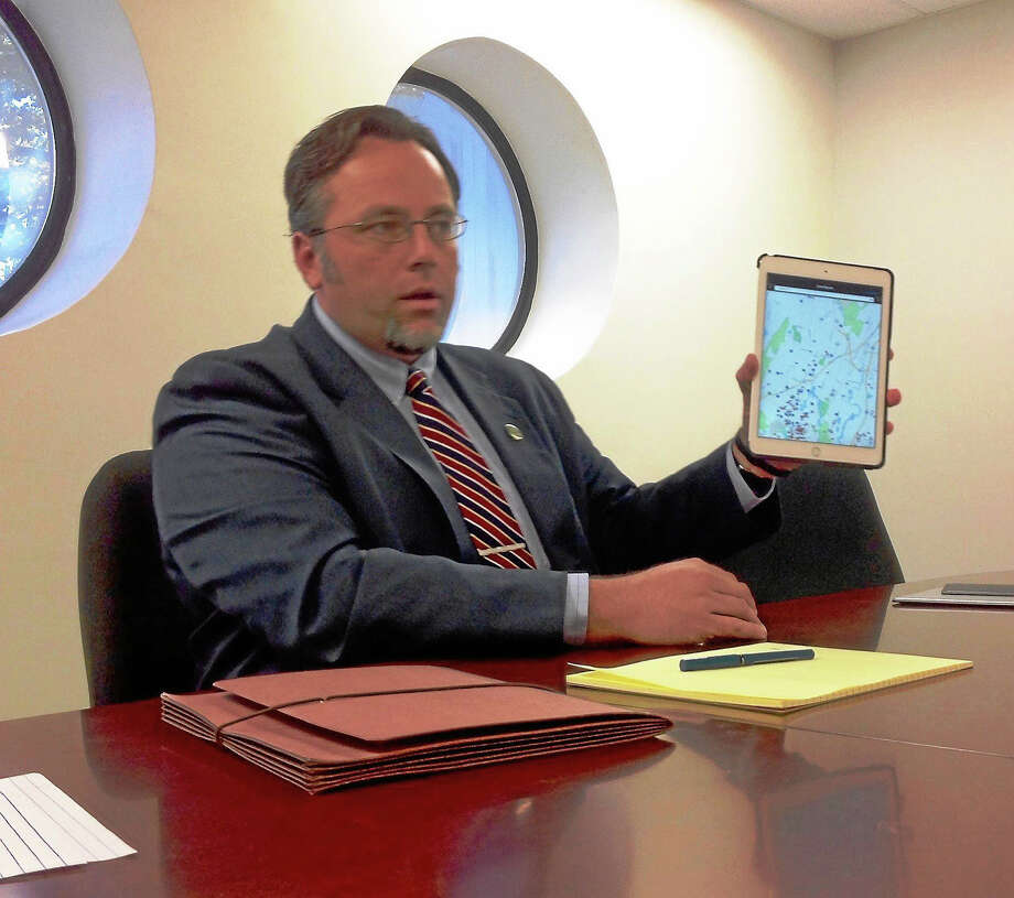 Hamden Mayor Curt Balzano Leng speaks to the New Haven Register editorial board about the town's CrimeReports app, in a visit during his recent campaign. Photo: Journal Register Co.