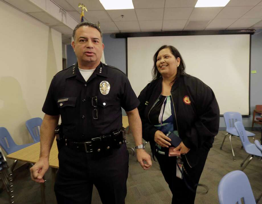School board member Monica Garcia , right with Los Angeles school police Chief Steve Zipperman speaks to media after officials closed all Los Angeles Unified School District campuses due to an electronic threat, Tuesday, Dec. 15, 2015 in Los Angeles. Officials would not elaborate on the threat, saying it was still being evaluated, but said the shutdown came as a precaution. Photo: AP Photo/Nick Ut    / ap