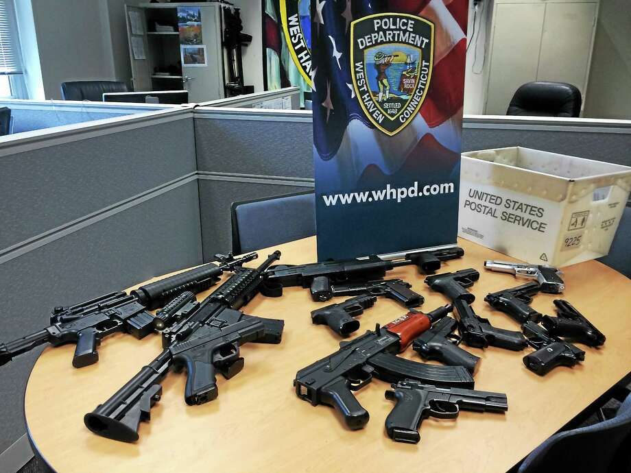 West Haven police laid out more than a dozen simulated firearms they have confiscated this year, including a BB gun that caused a lock down at West Haven High School. Police and lawmakers said the weapons are becoming increasingly common and put those carrying them in danger. Photo: Wes Duplantier — New Haven Register