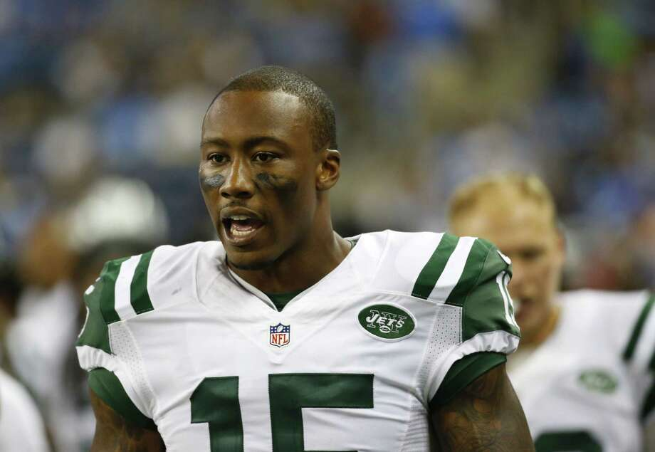 New York Jets receiver Brandon Marshall walks in the bench area during Thursday's preseason game against the Lions in Detroit. Photo: Paul Sancya — The Associated Press   / AP
