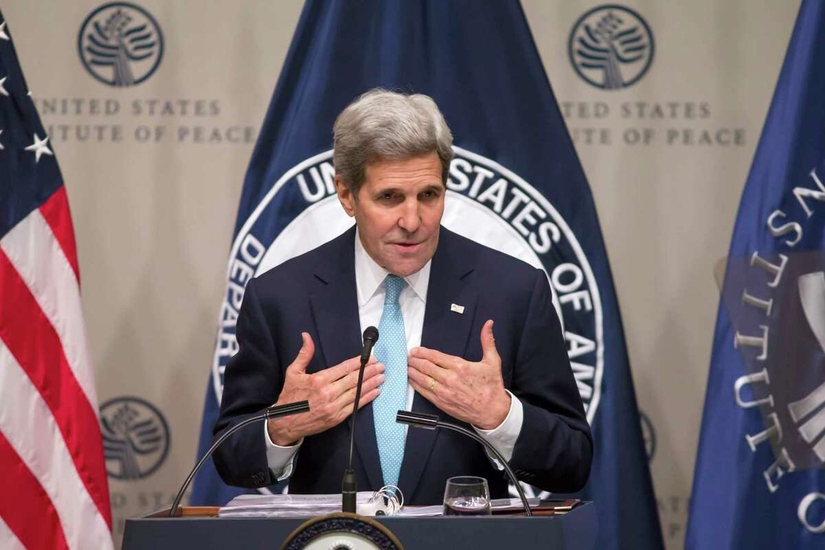 Secretary of State Kerry speaks on U.S. strategy in Syria and the Middle East just before heading back to Vienna for more talks on how to resolve the crisis, Thursday, Nov. 12, 2015, at the Peace Institute in Washington.