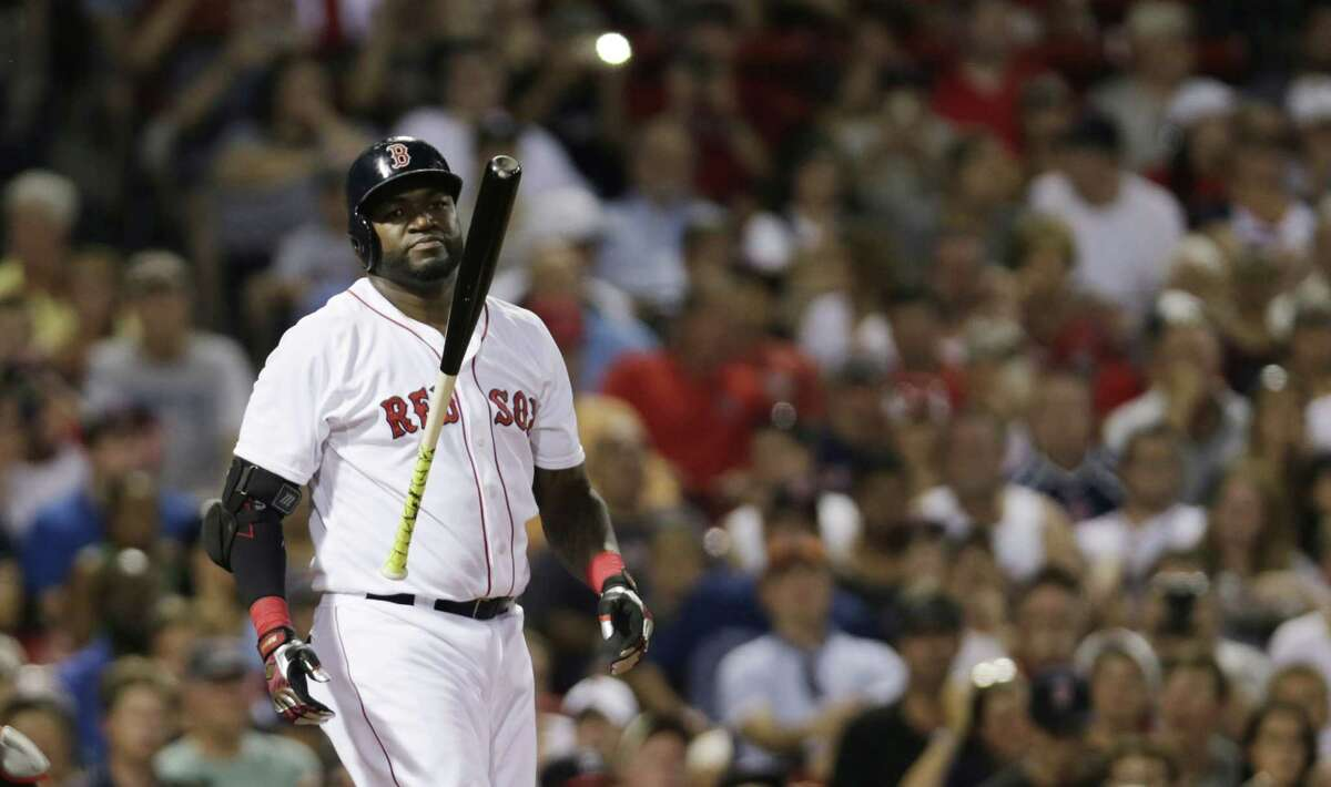 Red Sox designated hitter David Ortiz reacts during the fourth inning Monday night.