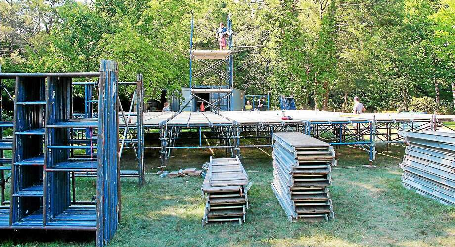 """Vladimir Shpitalnik's """"Twelfth Night"""" set went up recently in Edgerton Park in New Haven. Photo: Contributed"""