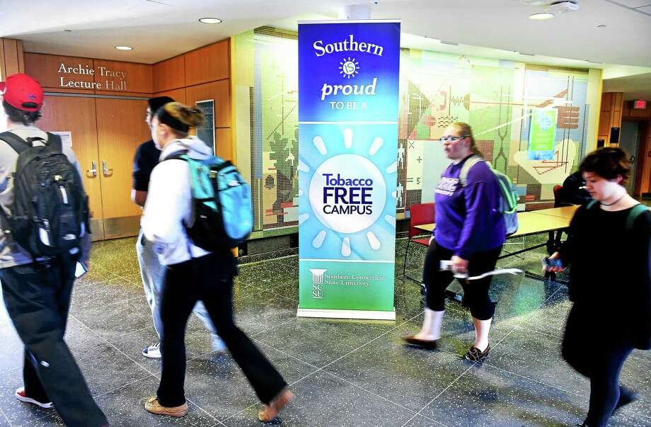 A sign advertises Southern Connecticut State University's tobacco-free campus inside Engleman Hall on 10/16/2015. Photo: Arnold Gold — New Haven Register