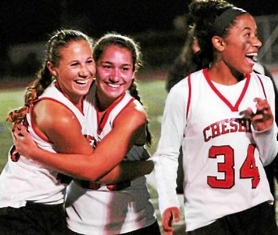 Cheshire midfielder Nicole Salamone (center). Photo: New Haven Register File Photo