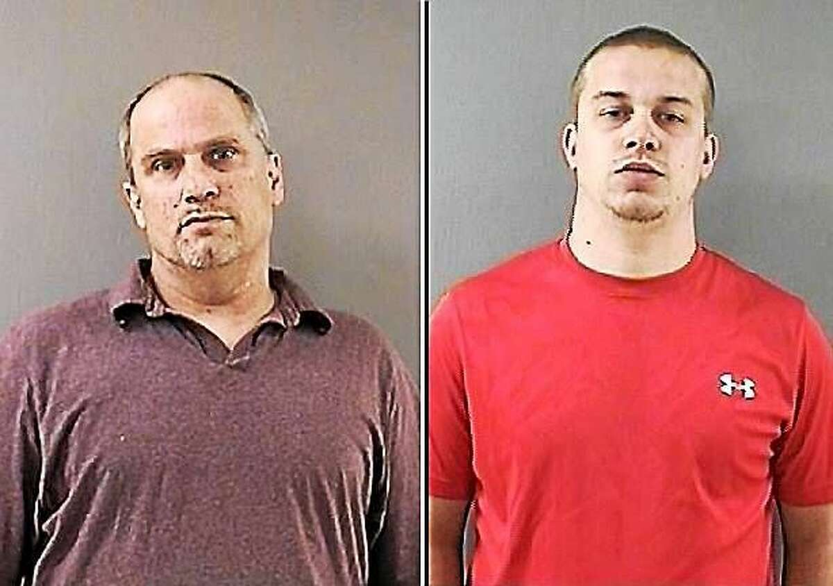 Jeffrey Kosky (left) and Corey Farmer (right). A booking photograph for Thomas Russo was not available. Wallingford Police Department
