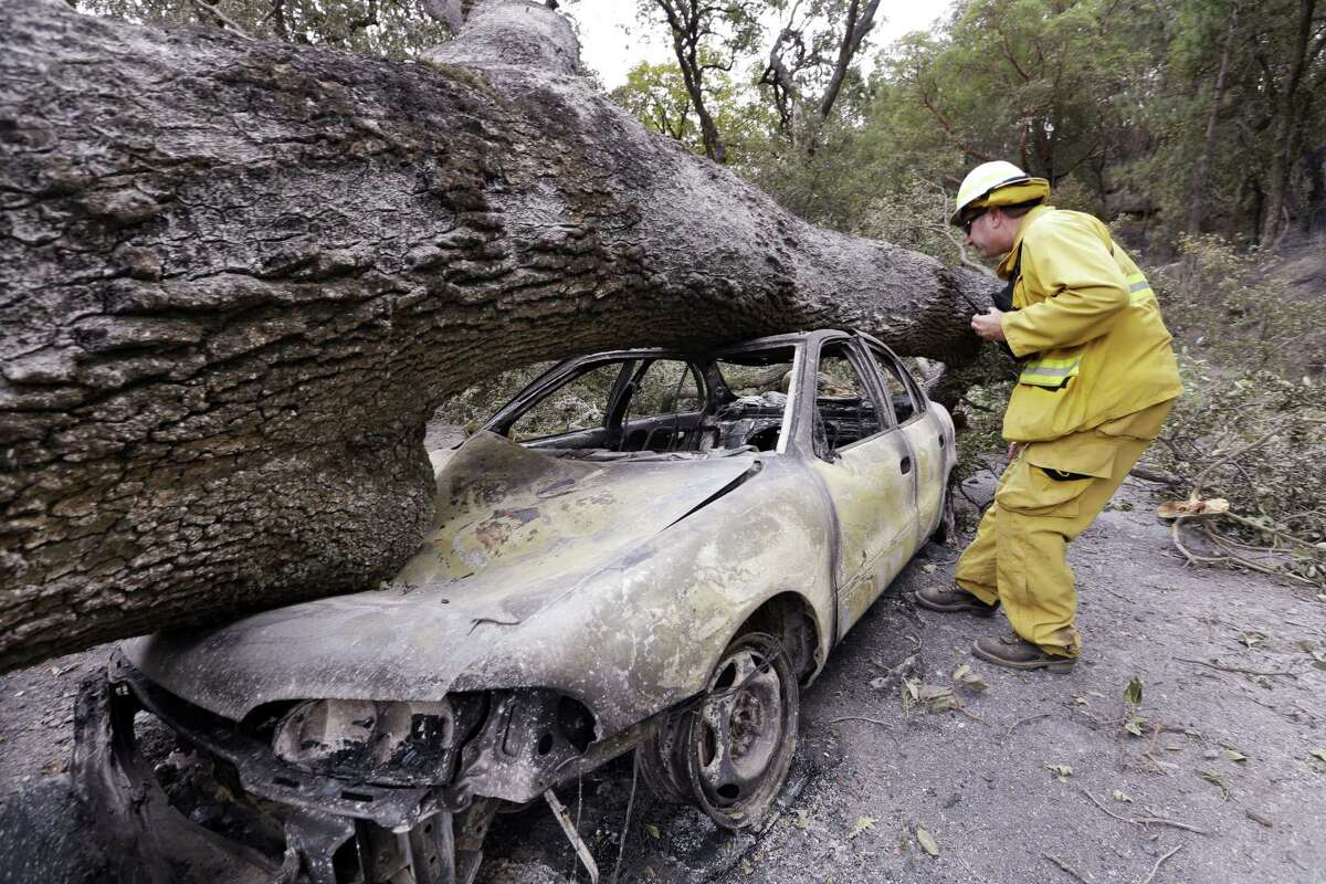 Firefighter Jeff Ohs looks into a burned out car on Sept. 15, 2015 that was also hit by a tree at the Harbin Hot Springs resort in a wildfire several days earlier near Middletown, Calif. The fire that sped through Middletown and other parts of rural Lake County, less than 100 miles north of San Francisco, has continued to burn since Saturday despite a massive firefighting effort.
