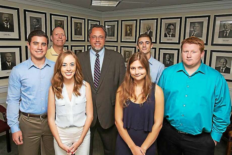 Front, from left, Quinnipiac University students Marc Steinberg, Meg Wilson, Alexa Panayotakis and Bradley MacDowall; rear, from left, professor Scott McLean, Mayor Curt Balzano Leng, student Jason Culmone. Photo: CONTRIBUTED PHOTO   / Michelle McLoughlin