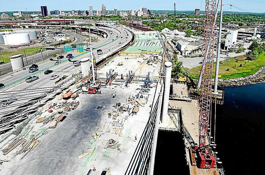 Construction takes place on the southbound section of the Pearl Harbor Memorial Bridge in New Haven in this May 2015 photo. Photo: Arnold Gold — New Haven Register