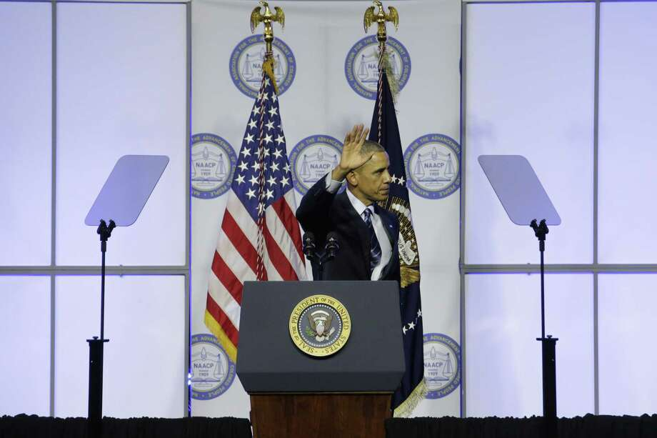 President Barack Obama waves after speaking at the NAACP's 106th Annual National Convention on July 14 in Philadelphia. Photo: AP Photo   / AP