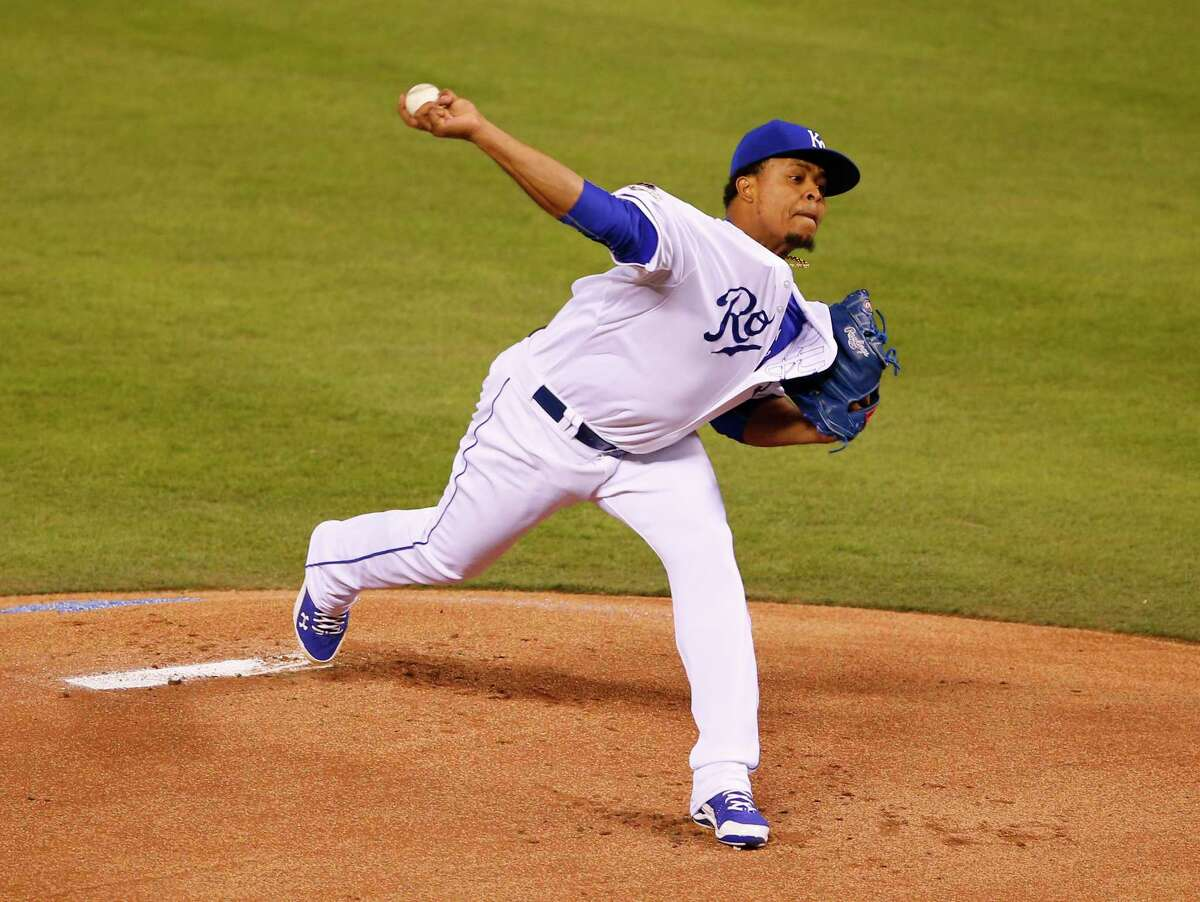 Kansas City starter Edinson Volquez threw six scoreless innings as the Royals beat the Toronto Blue Jays 5-0 in Game 1 of the American League championship series on Friday in Kansas City, Mo.