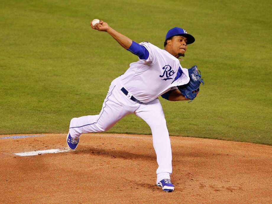 Kansas City starter Edinson Volquez threw six scoreless innings as the Royals beat the Toronto Blue Jays 5-0 in Game 1 of the American League championship series on Friday in Kansas City, Mo. Photo: Paul Sancya — The Associated Press   / AP