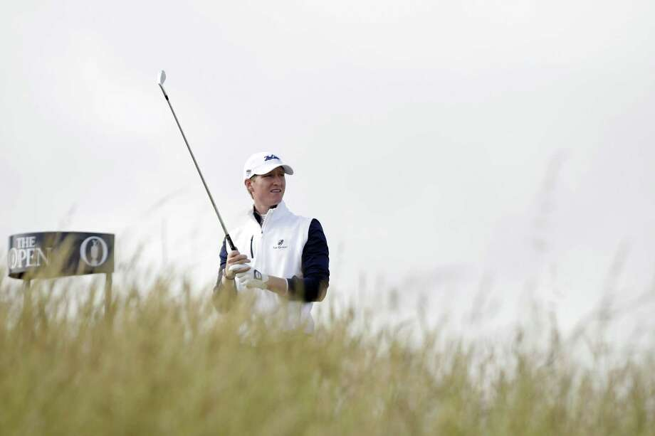 Jordan Niebrugge follows his drive from the sixth tee during the first round of the British Open on Thursday at the Old Course, St. Andrews, Scotland. Photo: Alastair Grant — The Associated Press   / AP