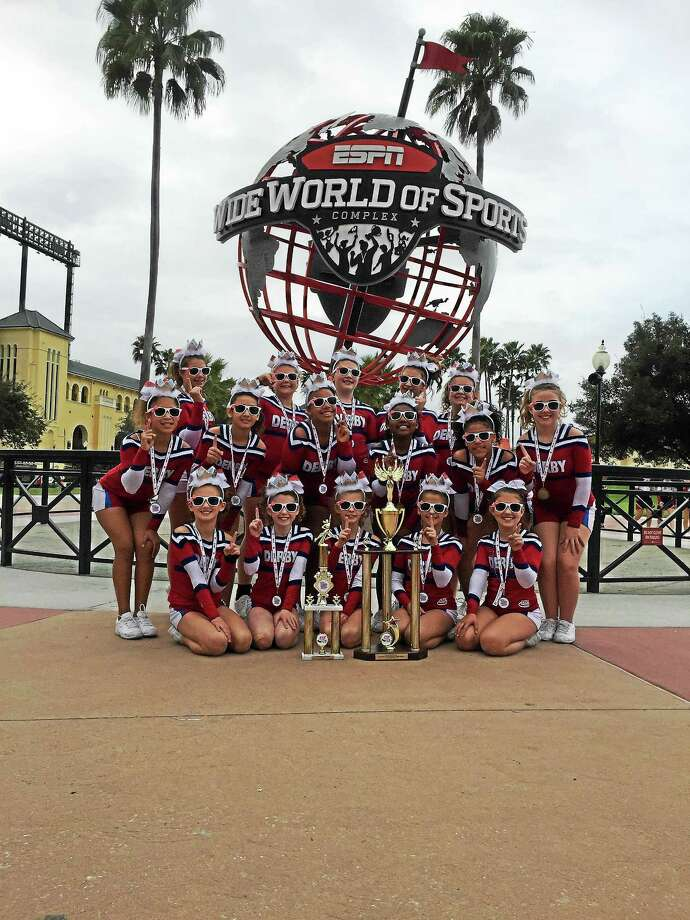 Derby's Peewee cheerleaders in Florida. Photo: CONTRIBUTED PHOTO