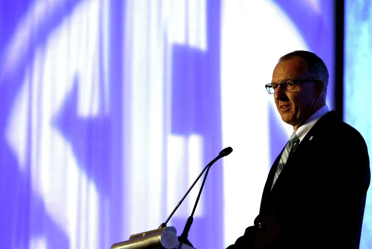 SEC commissioner Greg Sankey speaks during Southeastern Conference football media day on Monday in Hoover, Ala.
