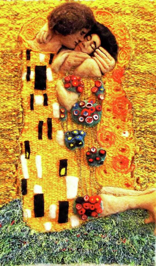 """Klimt, The Kiss,"" by Laura Lyons of Guilford, homespun wool tapestry with needle-felted wool elements and beads. Photo: Journal Register Co."