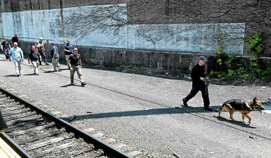 State police canine units complete a search around the State Street railroad station in New Haven Thursday afternoon, after two severed legs were discovered Wednesday and then, later in the evening, two arms were found in a plastic bag. Photo: (Peter Hvizdak - New Haven Register)   / ©2015 Peter Hvizdak