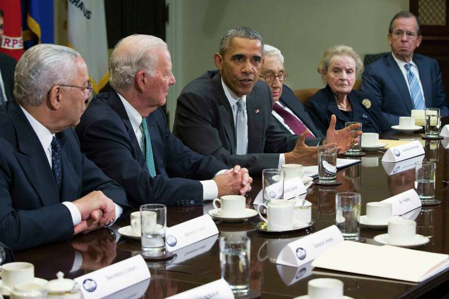 President Barack Obama speaks during a meeting with national security leaders to discuss the Trans-Pacific Partnership trade agreement Friday in the Roosevelt Room of the White House in Washington. Photo: AP Photo   / AP