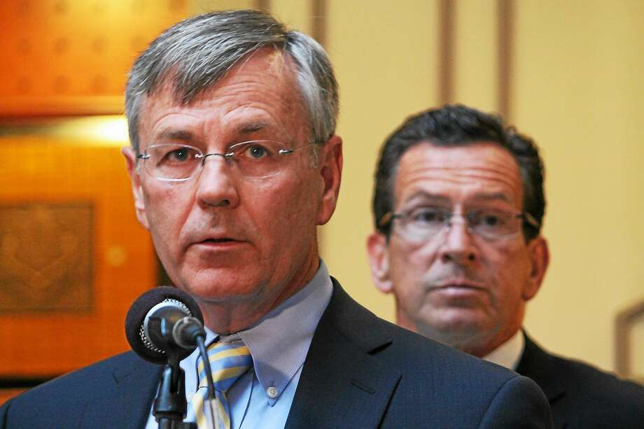 James Redeker, the DOT commissioner, and Gov. Dannel P. Malloy in back. Photo: CTMirror.org File Photo