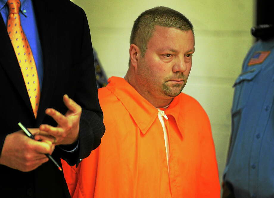 In this May 8, 2014, photo, Scott Gellatly stands before the judge during his arraignment in Superior Court in Derby. Photo: The Associated Press   / POOL, The Connecticut Post