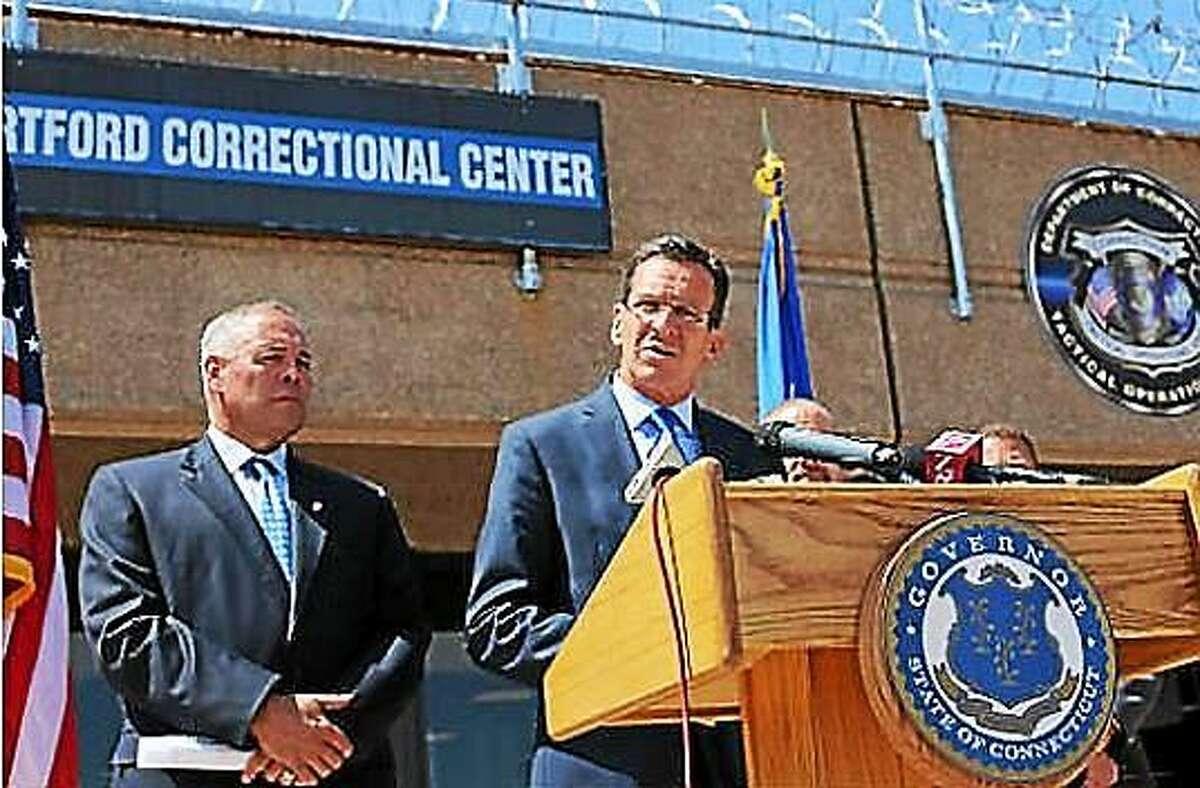 Gov. Dannel P. Malloy and Correction Commissioner Scott Semple outside Hartford Correctional Center