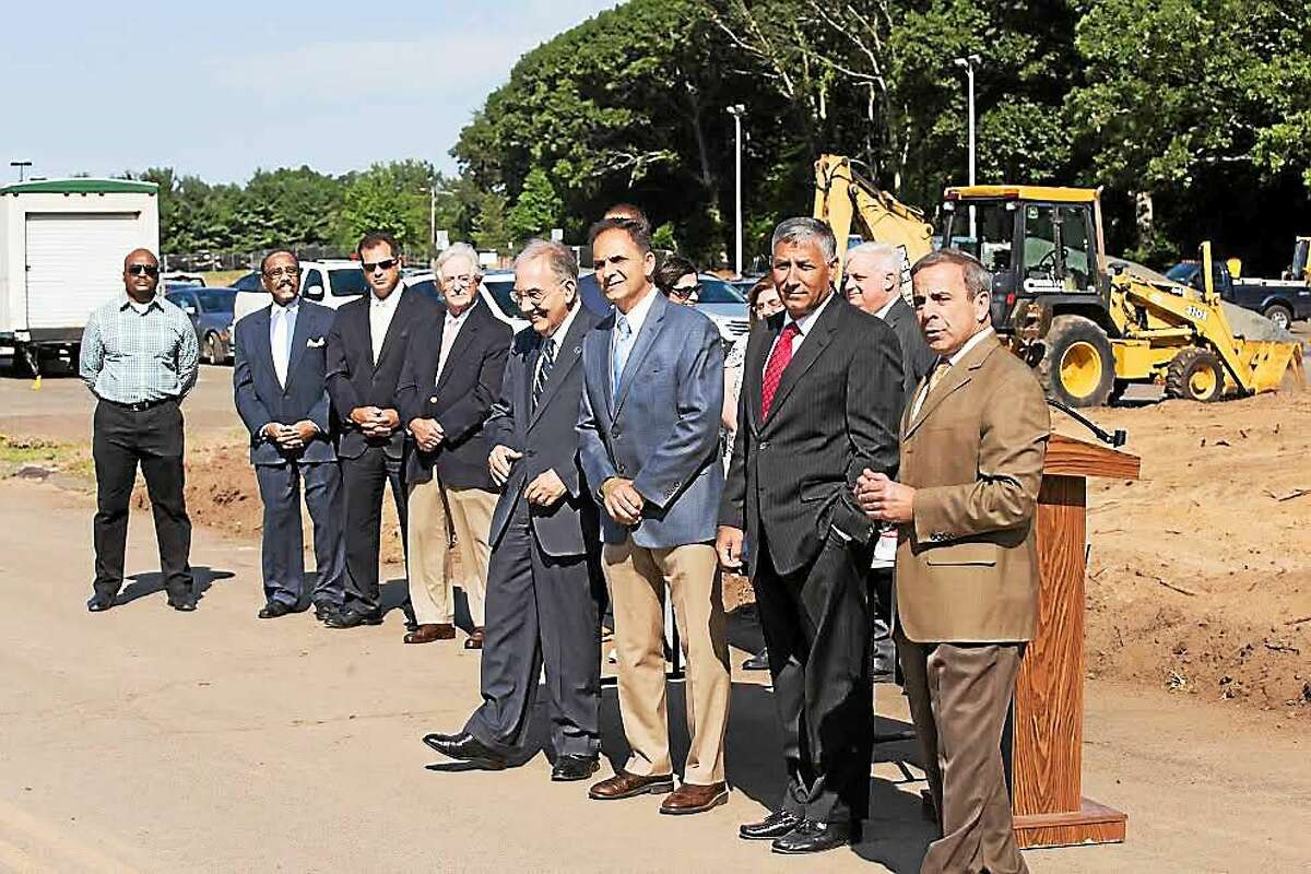 Sen. Martin M. Looney, Rep. Dave Yaccarino, Sen. Len Fasano, First Selectman Mike Freda at Thursday's ground-breaking ceremony in North Haven.