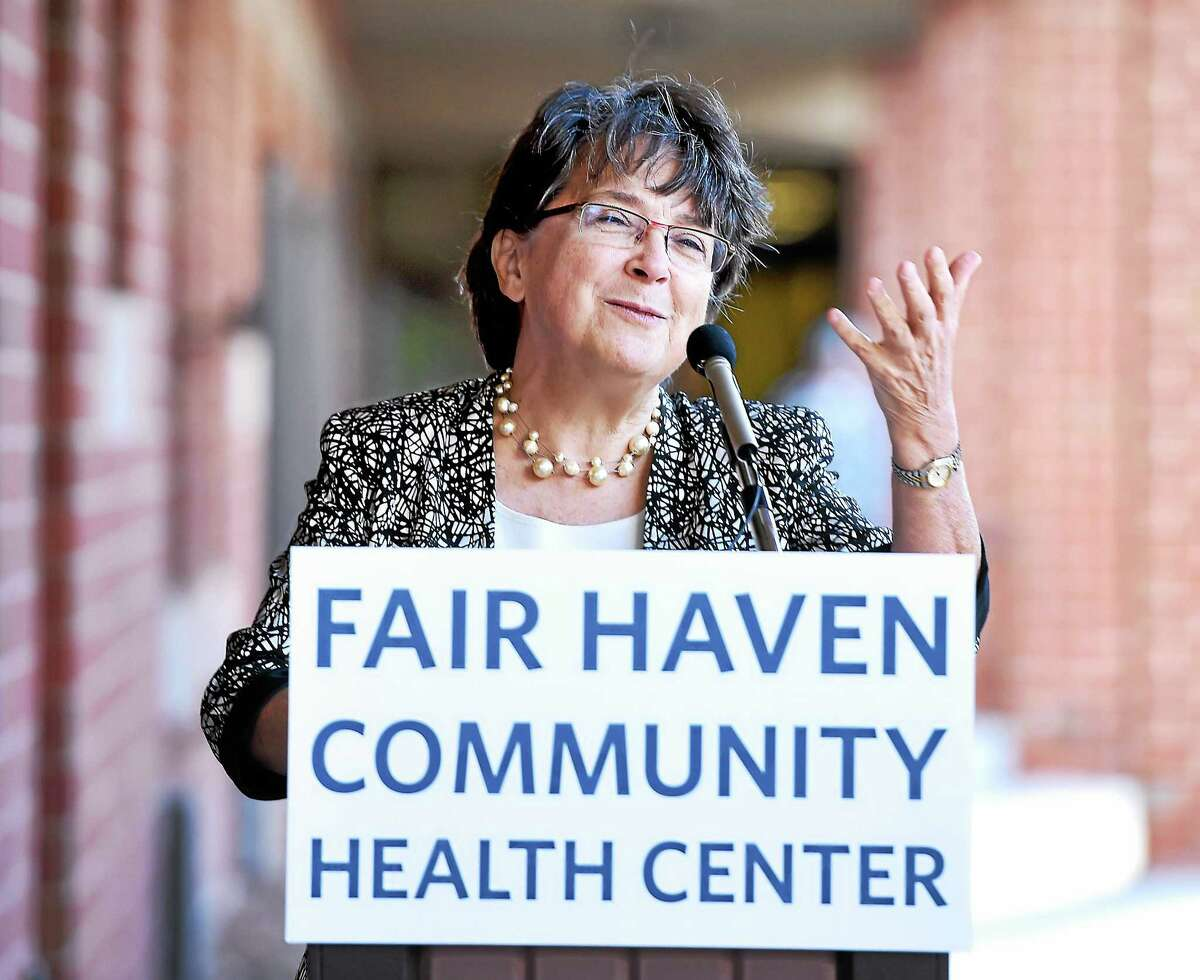 Dr. Suzanne Lagarde, CEO of the Fair Haven Community Health Center, speaks at a ribbon cutting ceremony for the satellite clinic at 50 Grand Ave. in New Haven Friday.