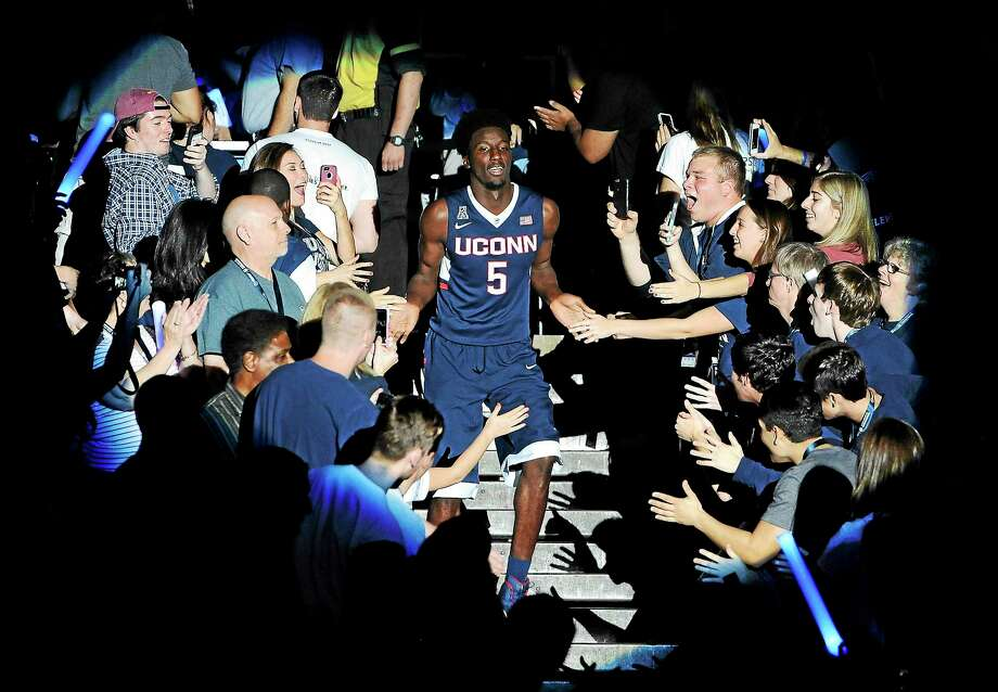 UConn's Daniel Hamilton is announced at last year's First Night festivities at Gampel Pavilion in Storrs. Photo: Jessica Hill — The Associated Press File Photo   / FR125654 AP