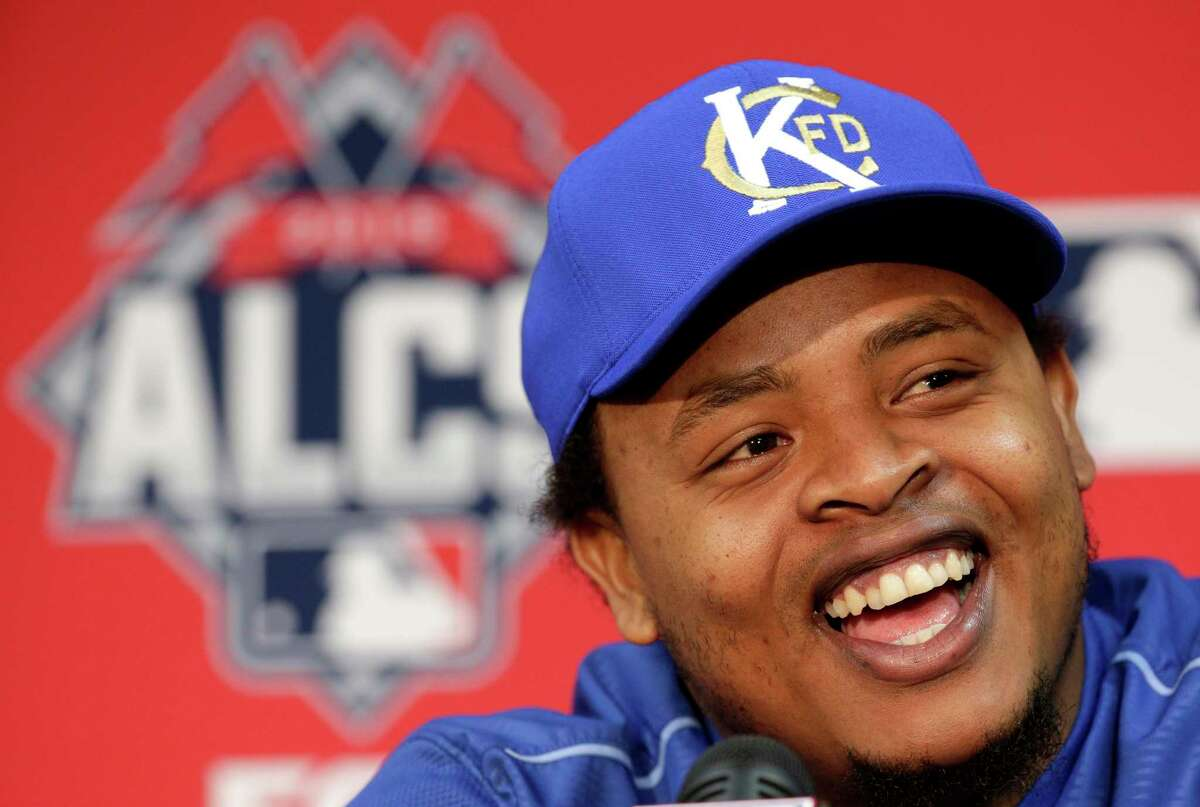 Royals starting pitcher Edinson Volquez talks to the media Thursday in Kansas City, Mo. Volquez will start against the Toronto Blue Jays in Game 1.