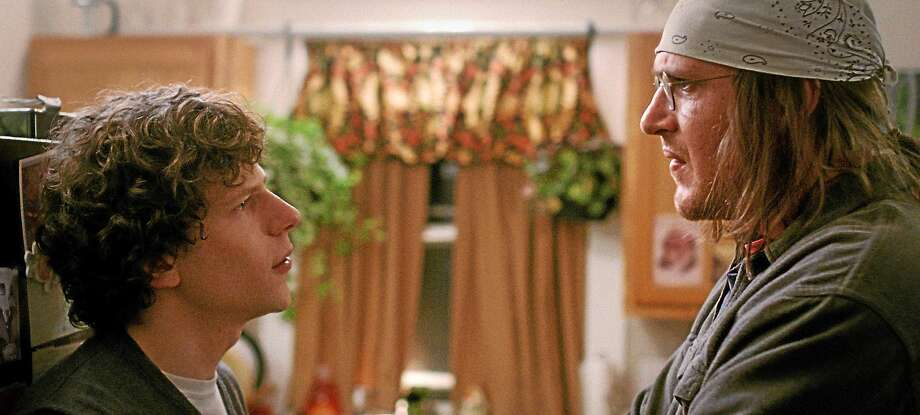 """Jesse Eisenberg, left, and Jason Segel draw viewers into a 106-minute conversation that is """"The End of the Tour."""" Photo: A24 Films Photos   / A24 Films"""