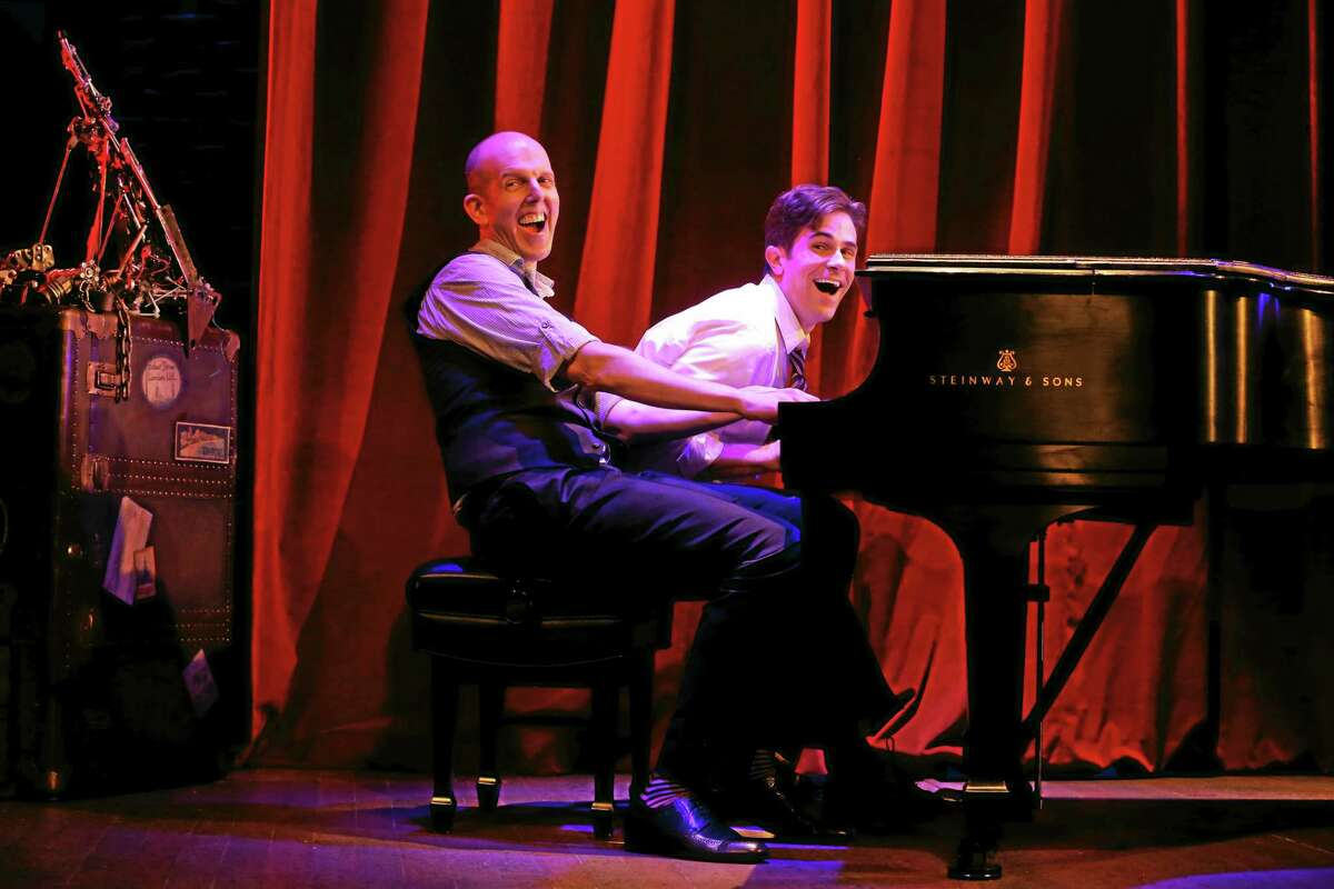 """Jeff Blumenkrantz, left, and Brett Ryback at the piano in the off-Broadway version of """"Murder for Two."""""""