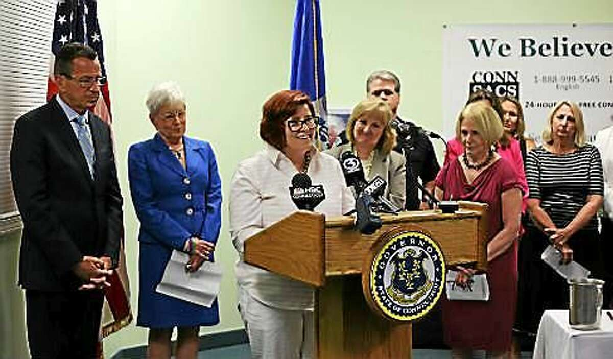 Laura Cordes, executive director of Connecticut Sexual Assault Crisis Services, spoke at a July press conference touting a law to hasten the testing of rape kits.