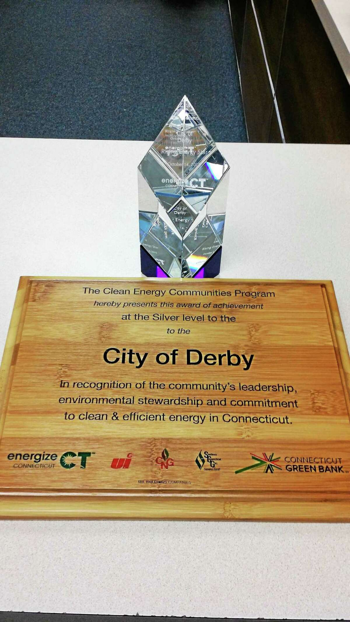 Connecticut Clean Energy Communities recognized Derby's commitment to reducing its energy footprint.