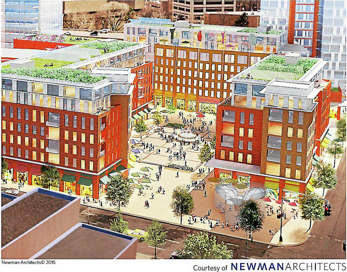 The Newman Architects rendering of a vision for the redevelopment of the former site of the New Haven Veterans Memorial Coliseum.