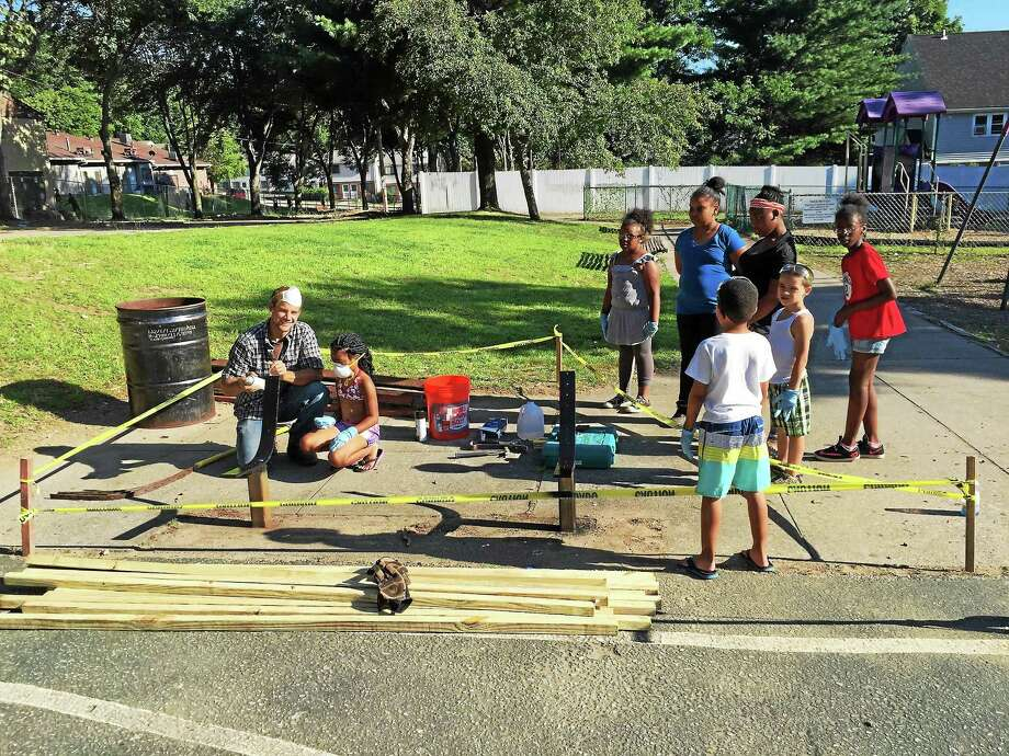 Volunteers have been working on Gatison Park in Ansonia's North End. Photo: CONTRIBUTED PHOTO