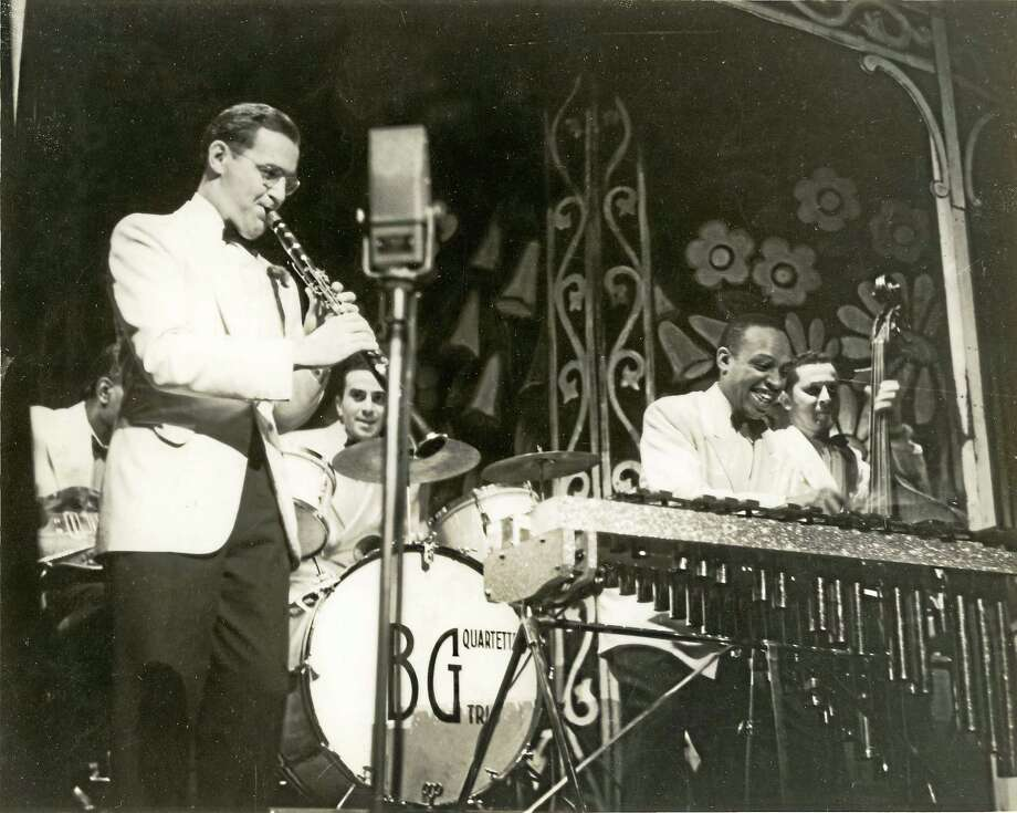 Benny Goodman, left, with Lionel Hampton, right front, and other band members in a photo from the collection at Yale. Photo: Yale Collection