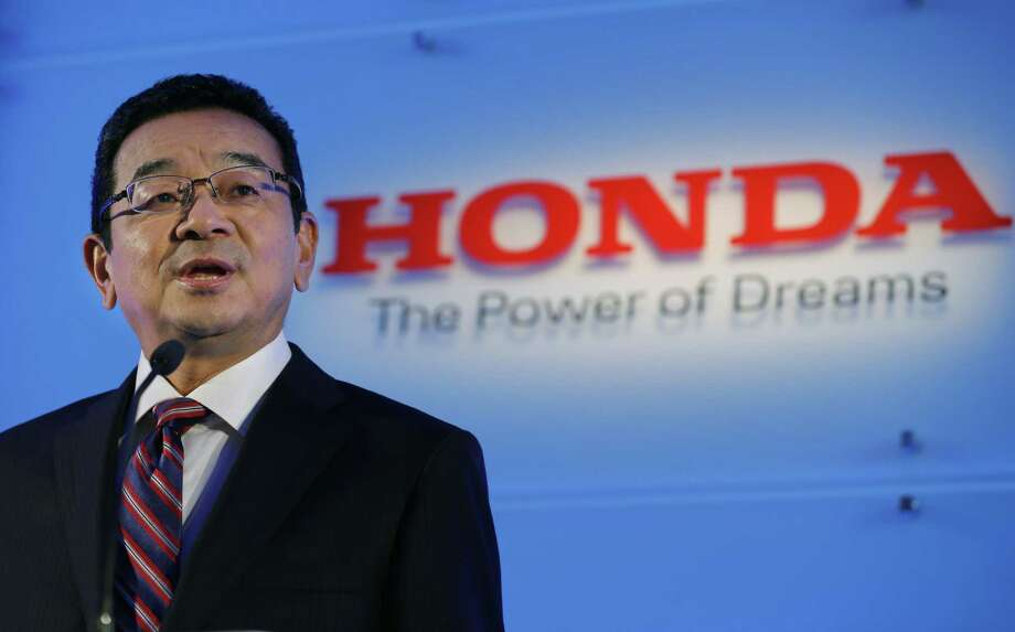 Honda Motor Co.'s CEO Takahiro Hachigo speaks during a press conference at the automaker's headquarters in Tokyo on July 6, 2015. Photo: AP Photo/Shizuo Kambayashi   / AP