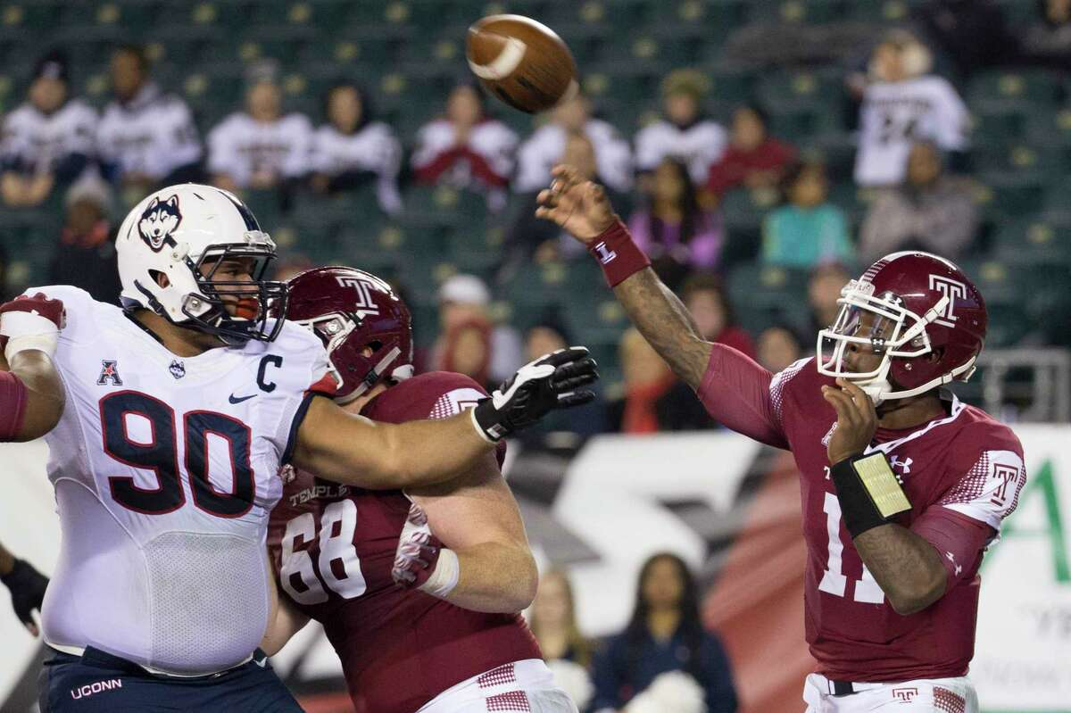 UConn's Julian Campenni (90) credits former strength and conditioning coach Jerry Martin with getting him ready to play major college football.