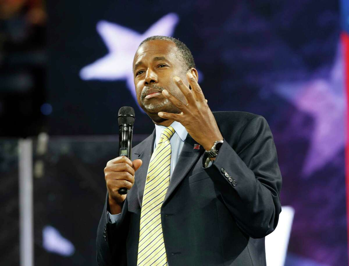 Republican Presidential candidate Dr. Ben Carson gestures during a speech at Liberty University in Lynchburg, Va., Wednesday, Nov. 11, 2015.