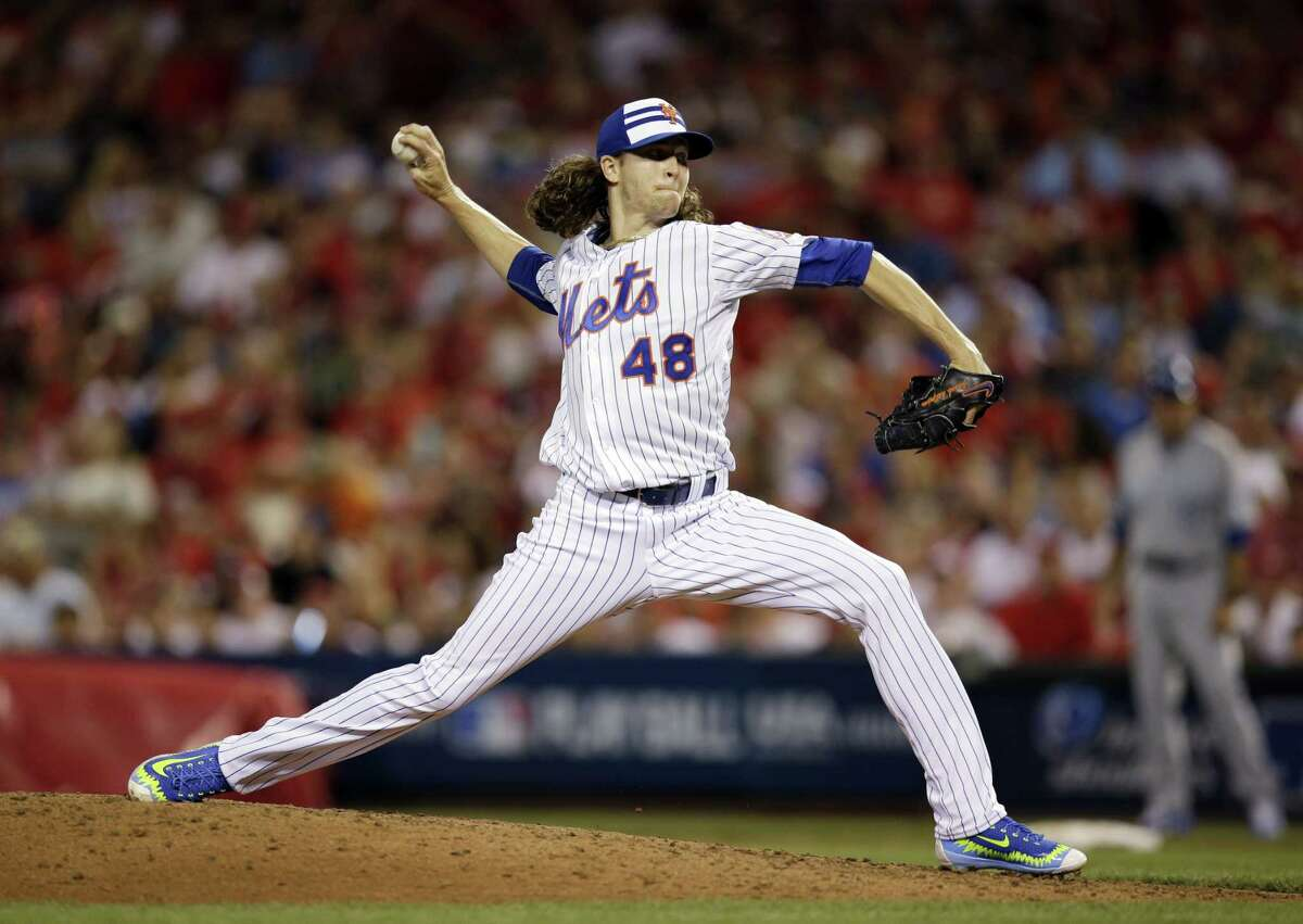 The National League's Jacob deGrom, of the New York Mets, hurls a perfect sixth inning, striking out three, during Tuesday's All-Star Game.
