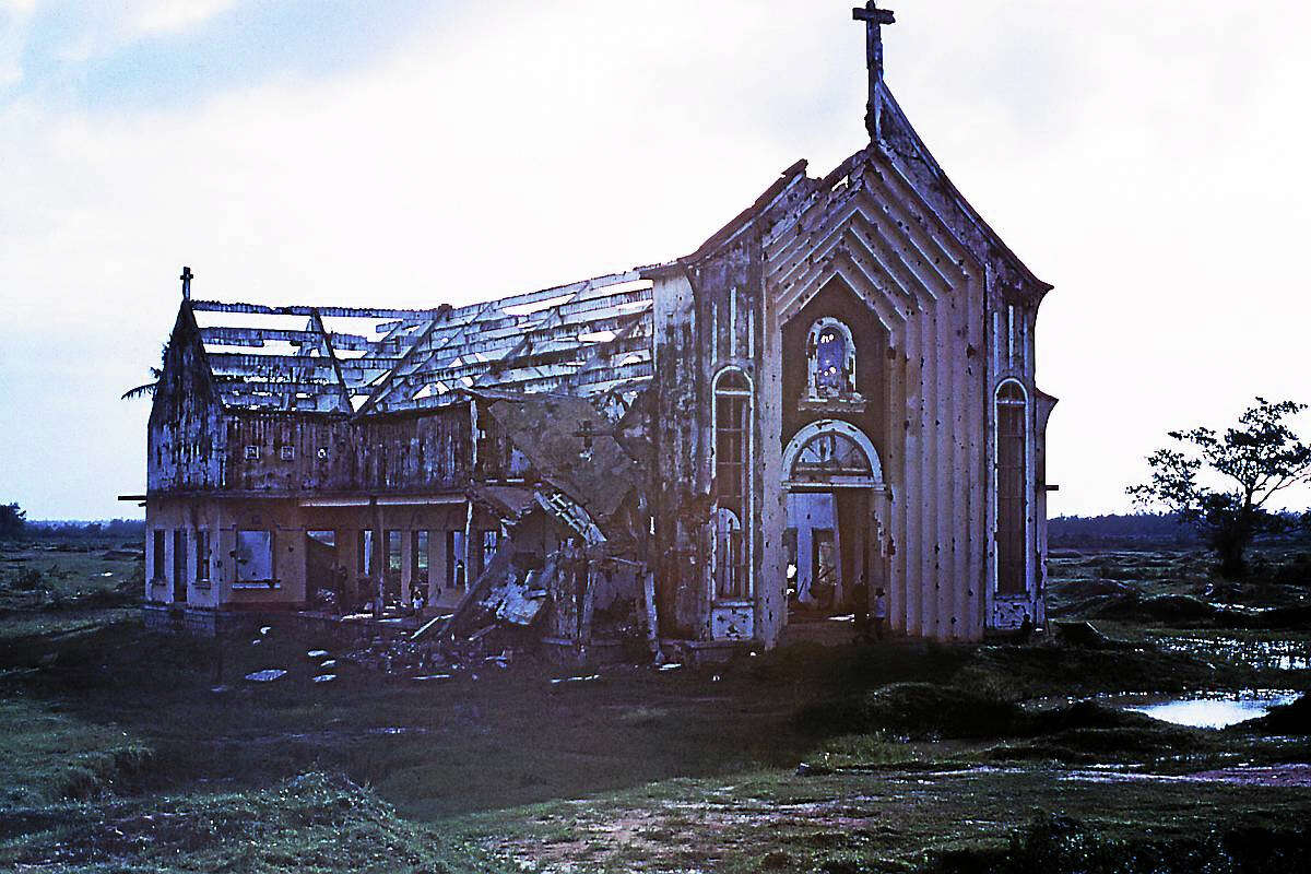 "A destroyed church from the movie ""My Father's Vietnam."""