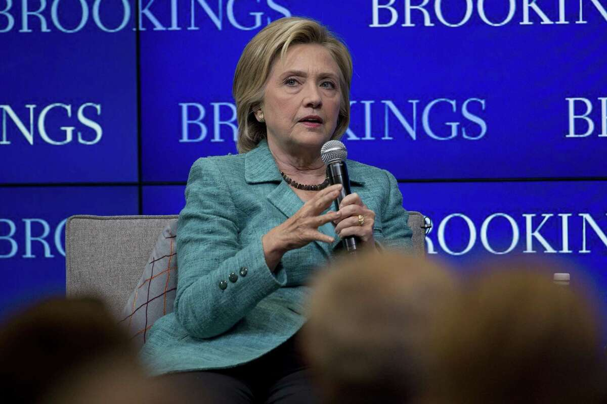 Democratic presidential candidate Hillary Rodham Clinton answers questions from the audience at the Brookings Institution in Washington on Wednesday.