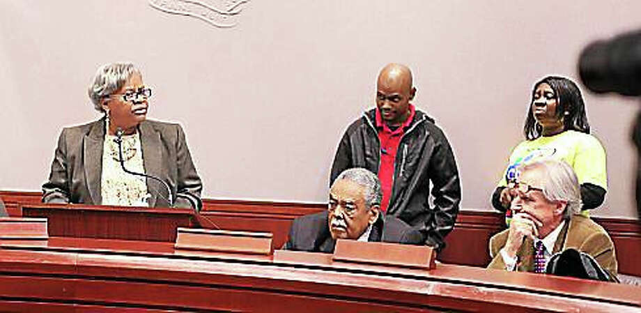 Human Services Committee Co-chair Marilyn Moore speaks about the minimum wage. Photo: Courtesy Christine Stuart