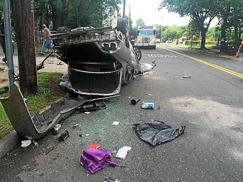 Part of Sherman Parkway was shut down in New Haven after a rollover crash late Tuesday morning. Photo: New Haven Fire Department