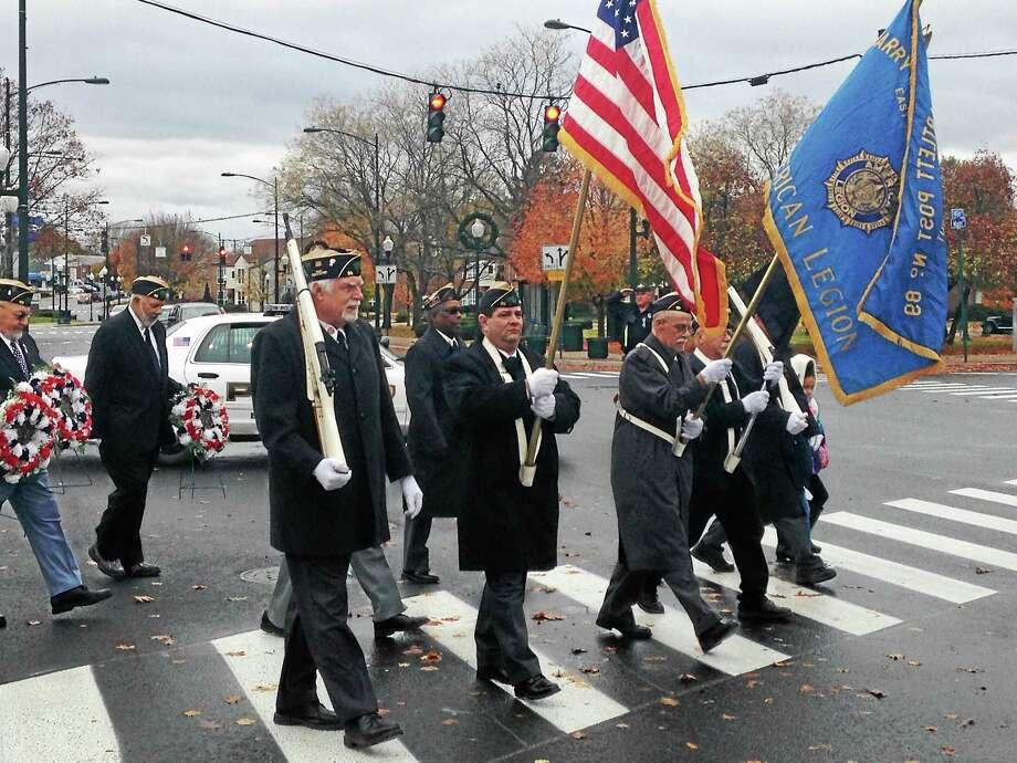 Veterans march down Main Street in East Haven Wednesday. Photo: Juliemar Ortiz — New Haven Register